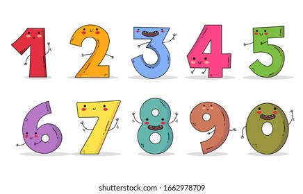 Cute Numbers Character: one two three four five six seven eight nine and zero - Shutterstock ID 1662978709