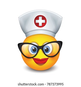Cute nurse emoticon wearing hat, lipstick and eyeglasses - emoji, smiley - isolated vector illustration