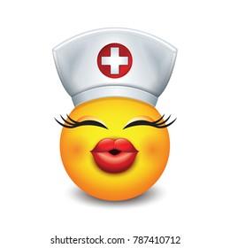 Cute nurse emoticon wearing hat and lipstick  - emoji, smiley - isolated vector illustration