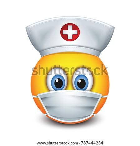 Cute Nurse Emoticon Wearing Hat Surgical Stock Vektorgrafik
