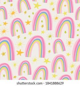 Cute Nursery Pink Rainbow Pattern.