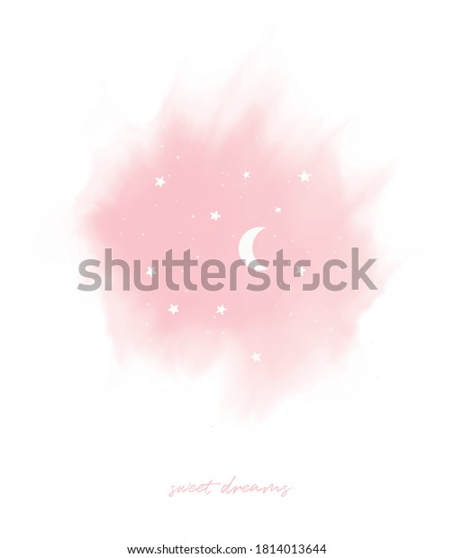Cute Nursery Vector Art with Pink Sky and White Moon and Stars on a White Background. Sweet Dreams Wall Art. Lovely Infantile Style Poster for Kids. Abstract Sky With Stars and Moon.