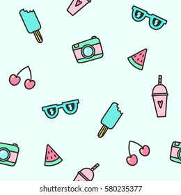 Cute objects. Camera, ice cream, glasses, watermelon, smoothie. Vector hand drawn seamless pattern.