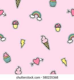 Cute objects pattern with pink background. Vector illustration