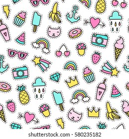 Cute objects seamless pattern. Pins, stickers. Vector hand drawn illustration