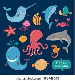Cute ocean animals on a dark background. Childish vector illustration of whale, fish, dolphin, turtle, shark, jellyfish, crab, octopus, asteroid, shell and narwhal.