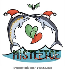 Cute ocean marlin mistletoe cartoon vector illustration motif set. Hand drawn isolated sea life lover swordfish elements clipart for christmas blog, sword graphic, fishing web buttons.