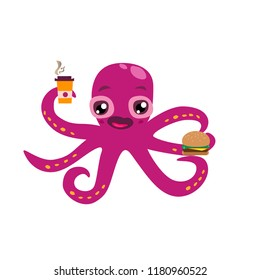 Cute octopus caracter with fastfood (cheesburger and coffee). Vector illustration