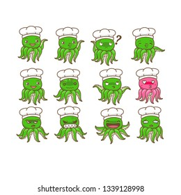 cute octopus chef set, emotion of octopus