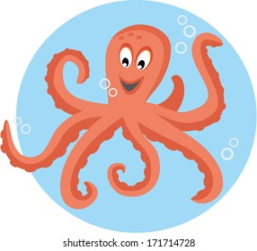 Cute octopus playing with bubbles