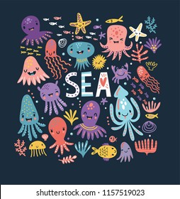 Cute octopus. Sea. Poster