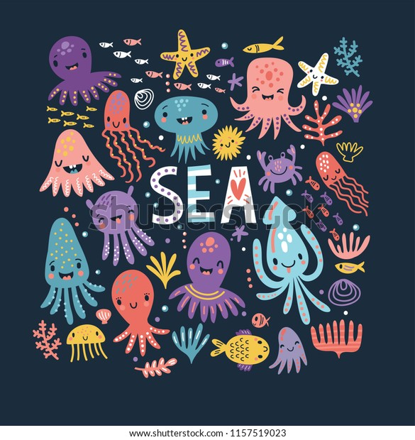 Cute octopus. Sea. Poster