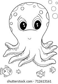 Cute Octopus Vector Illustration Art