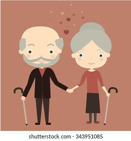 Cute old couple in love. Vector Illustration
