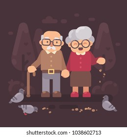 Cute old couple walking in the park and feeding pigeons. Grandparents flat illustration