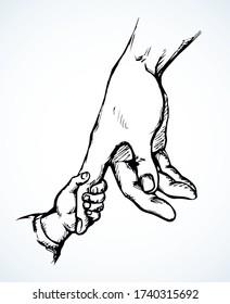 Die Hand der Kinder hält sich am Arm der Mutter. Zeichnung