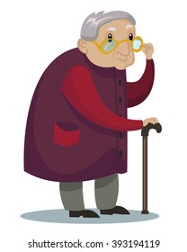 cute old man in purple coat standing with stick