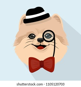 Cute Old Pomeranian Dog Puppy Party Face Illustration