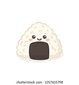 Cute Onigiri Japanese Food Cartoon Character Vector Illustration