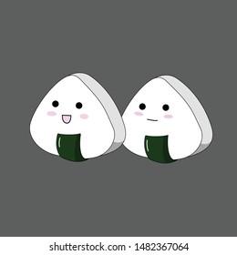 cute onigiri on gray background