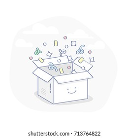Cute open greeting box with confetti, concept of Surprise, Gift, Benefit, Offer or Presentation. Modern flat line package vector illustration.