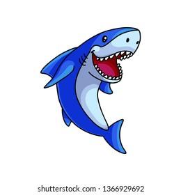 Cute open mouth white blue ocean shark