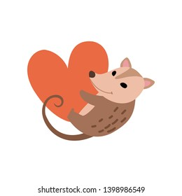 Cute Opossum Holding Big Red Heart, Adorable Wild Animal Cartoon Character Vector Illustration