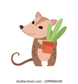 Cute Opossum Holding Flower Pot with Houseplant, Adorable Wild Animal Cartoon Character Vector Illustration