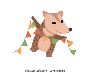 Cute Opossum with Party Flags, Adorable Wild Animal Cartoon Character at Party Vector Illustratio