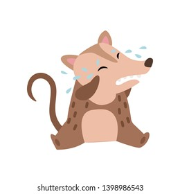 Cute Opossum Sitting on Floor and Crying, Adorable Wild Animal Cartoon Character Vector Illustration