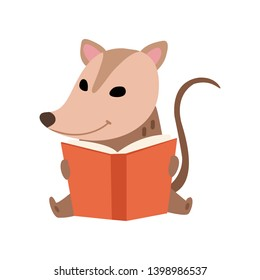 Cute Opossum Sitting and Reading Book, Adorable Wild Animal Cartoon Character Vector Illustration