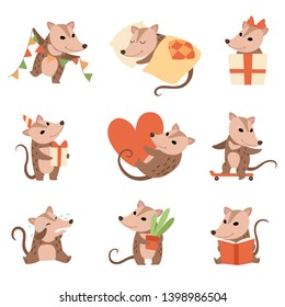 Cute Opossums Set, Adorable Wild Animals Cartoon Characters in Various Situations Vector Illustration