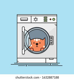 Cute Orange Cat Sits, Hides Inside the Washing Machine. Flat Cartoon Vector Outlined Illustration.