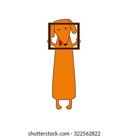 Cute orange colored brown contoured dachshund with protruding tongue, one eye closed and one opened standing on hind legs and holding empty frame in forelegs. Vector flat style illustration