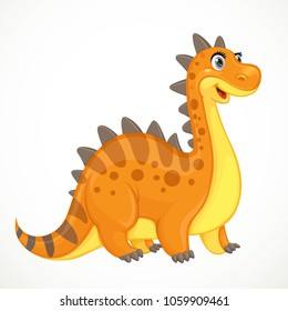 Cute orange dinosaur toy isolated on white background