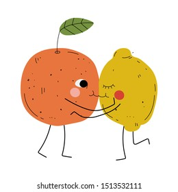 Cute Orange and Lemon Hugging and Kissing, Cheerful Citrus Fruits Characters with Funny Faces, Happy Couple in Love Vector Illustration