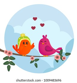 Cute orange and pink birds sitting on a branch with flowers. Cute sparrows in love on sky background