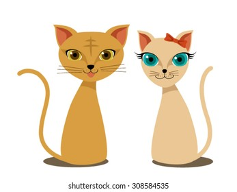 Cute orange and pink cats