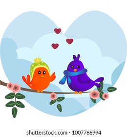 Cute orange and purple birds sitting on a branch with flowers. Cute sparrows in love on sky background