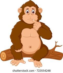 cute orangutan cartoon sitting with confusion face