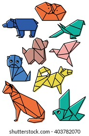 cute origami animals pets set with dark lines and offset color bold lines vector illustration