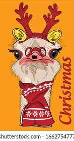 Cute ostrich in Deer horns. Humor card, poster, t-shirt composition, hand drawn style print. Christmas - lettering. Vector illustration.