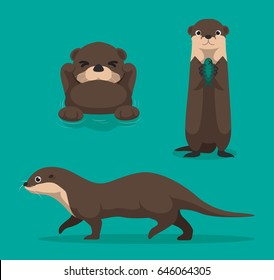 Cute Otter Cartoon Vector Illustration