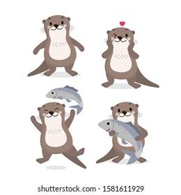 Cute otter and fish vector. Happy animal wildlife cartoon character set.