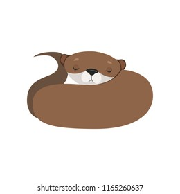 Cute otter sleeping, lovely animal character vector Illustration on a white background