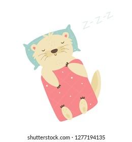 Cute otter sleeping on pillow under the blanket. Animal character vector illustration. Print design