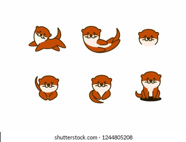 Cute otter smiling, vector illustration