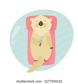 Cute otter swimming in a pool on air matrass. Animal character vector illustration. Print design