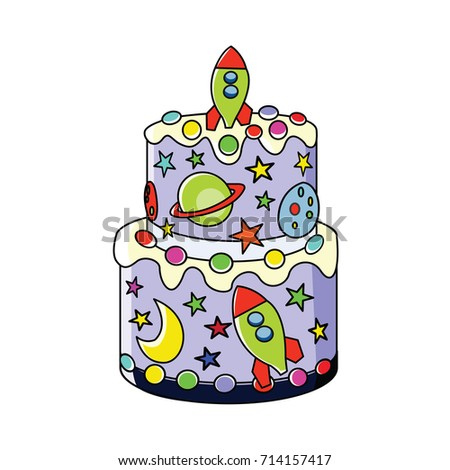 Cool Cute Outer Space Birthday Cake Vector Stock Vector Royalty Free Funny Birthday Cards Online Sheoxdamsfinfo