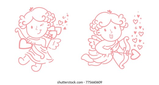 Cute outline Cupid Amur baby character with wings, hearts, bow and arrows. Pink romantic hand drawn love illustration art in cartoon, doodle style for Valentine Day: for print, greeting card, poster